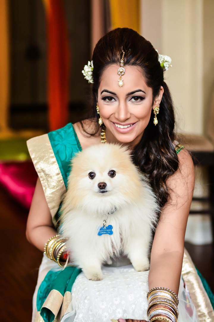 Neena-Chintan-Indian-wedding-venue-Hotel-Irvine-wedding-ceremony-brides-dog