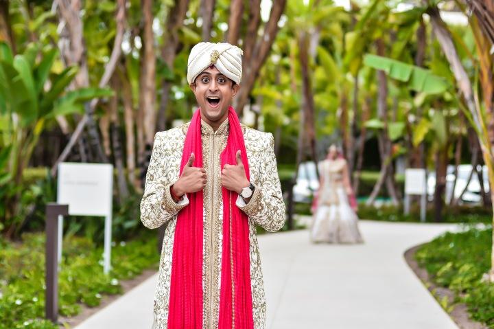 Neena-Chintan-Indian-wedding-venue-Hotel-Irvine-wedding-ceremony-groom-funny-photo