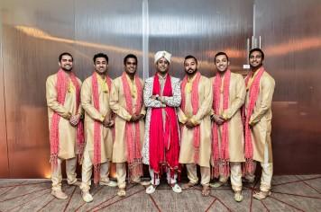 Neena-Chintan-Indian-wedding-venue-Hotel-Irvine-wedding-ceremony-groomsmen-serious