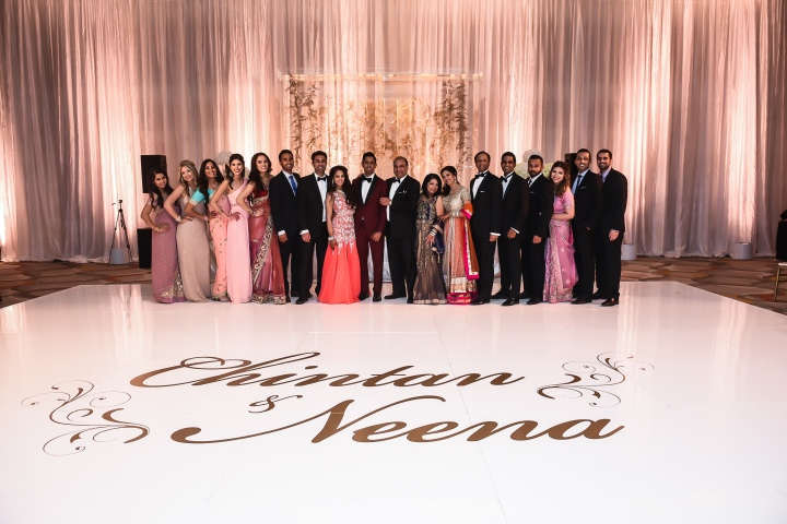 Neena-Chintan-Indian-wedding-venue-Hotel-Irvine-wedding-ceremony-Hindu-bridal-party-white-personalized-dance-floor