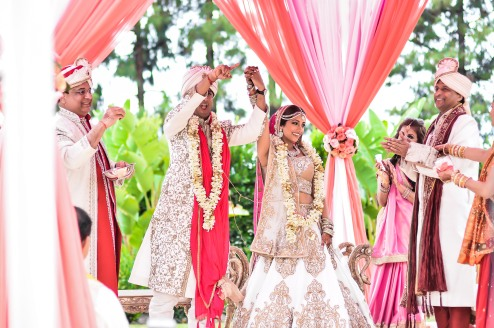 Indian bride and groom offiicially married