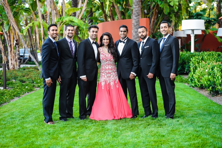 Indian bride with groomsmen
