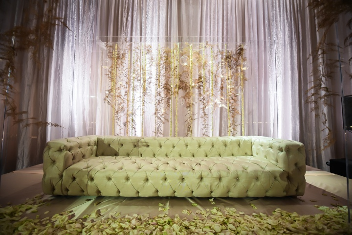 Sweetheart couch at Indian wedding reception