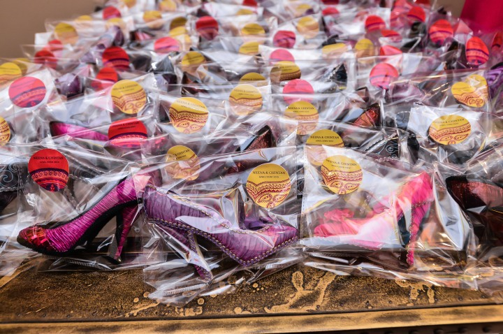 High heel gifts at an Indian wedding sangeet