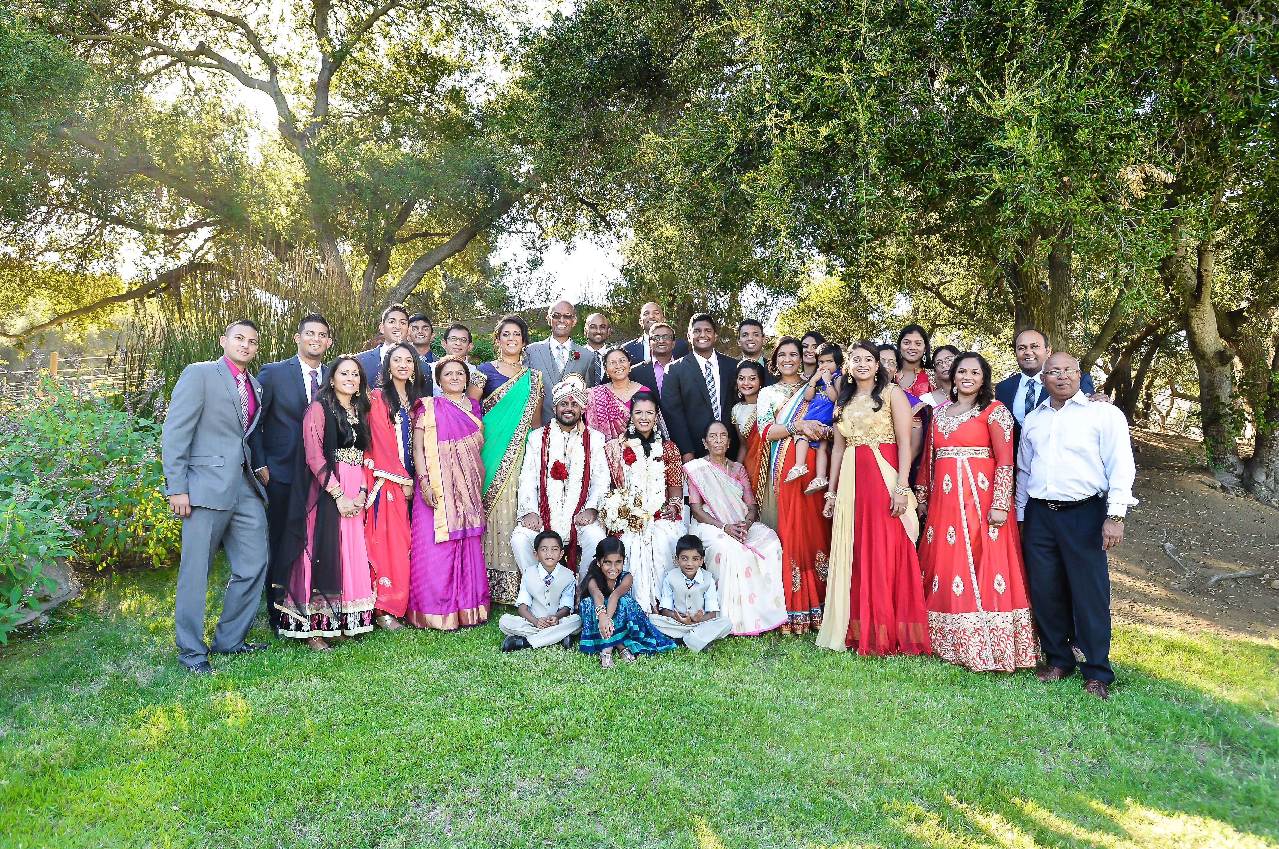 Rakhee Amrish Gift Exchange Indian Wedding Venue Photography Greycard Hindu Outdoor Dresses Bride Groom Vineyard South Asian Extended Family