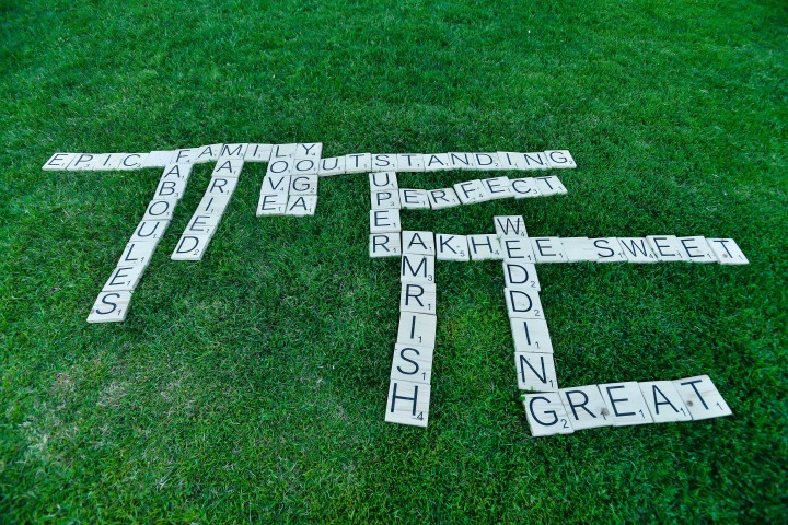life size scrabble at an Indian wedding cocktail hour