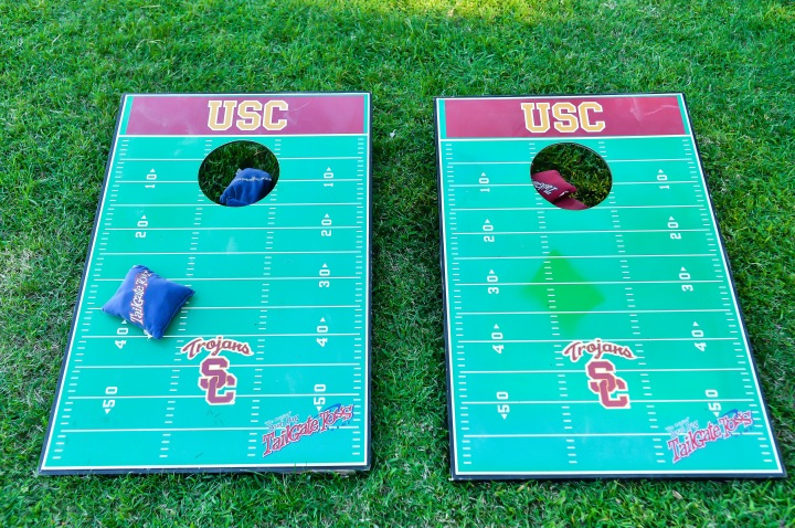 USC Trojans game at Indian wedding cocktail hour