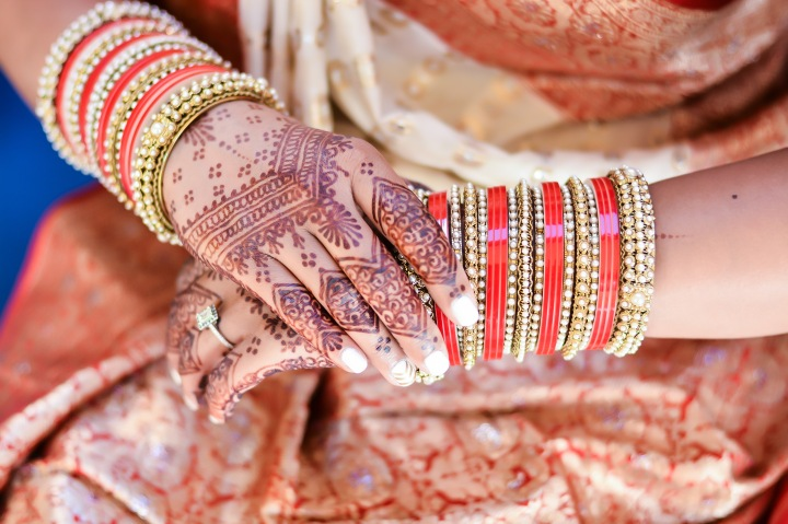 Indian brides mehndi and bangles on her hands