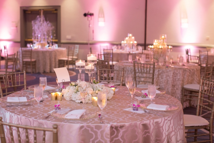 venue setup with chiavari chairs and tables