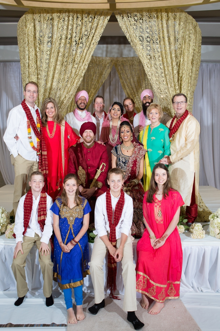 Indian bride's family and Canadian groom's familiies together