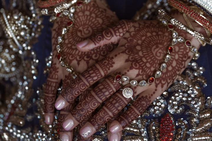 Indian bride's mehndi and panja