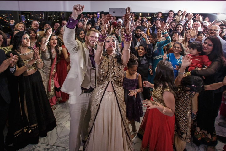 Group selfie shot by the bride at an Indian wedding