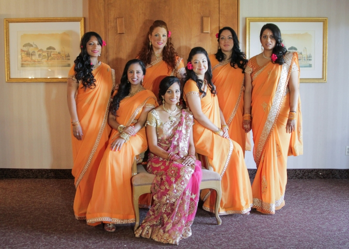 Ashmi-Suraj-Indian-wedding-venue-baraat-Hindu-Jain-San-Diego-reception-wedding-party-bridesmaids-saris