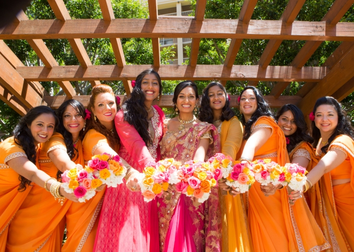 Ashmi-Suraj-Indian-wedding-venue-Hindu-Jain-ceremony-bridesmaids-bouquet