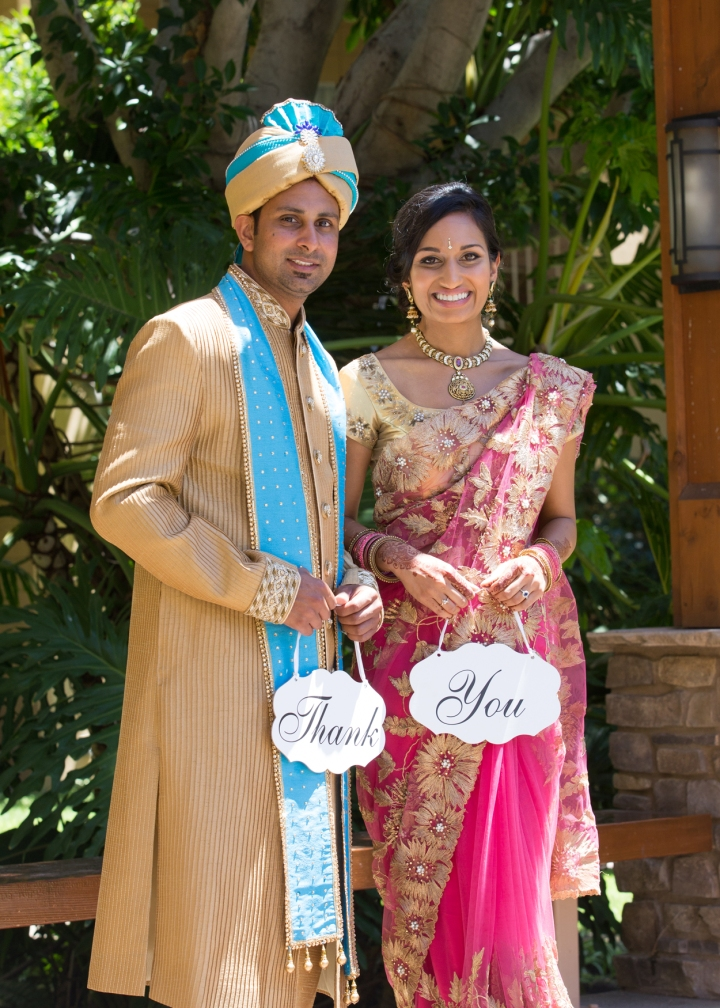 Indian-wedding-venue-Ashmi-Suraj-Thank-you-sign-sari-sherwani-bride-groom-Hindu-wedding-Jain