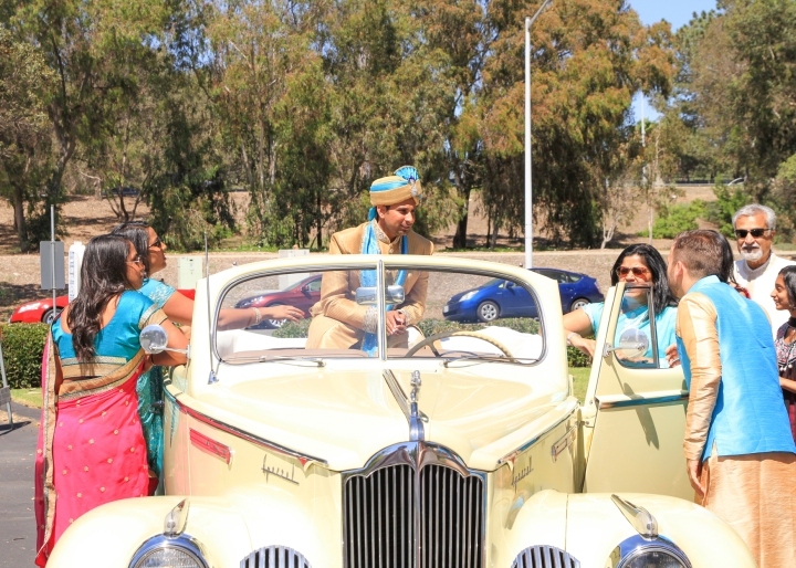 Ashmi-Suraj-Indian-wedding-venue-Hindu-Jain-ceremony-San-Diego-classic-car
