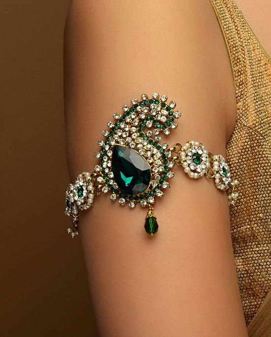 Green jewel encrusted women's arm band wedding jewelry