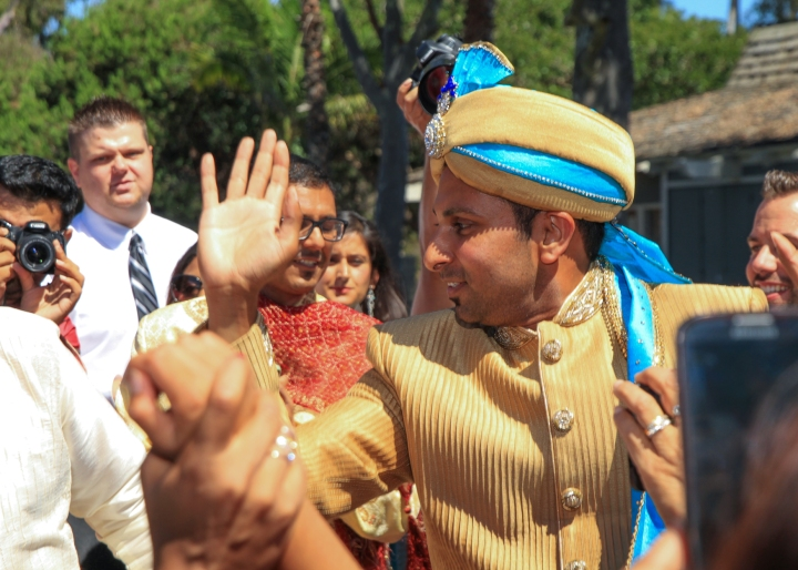 Ashmi-Suraj-Indian-wedding-venue-baraat-Hindu-Jain-San-Diego-dhol-groom-dancing