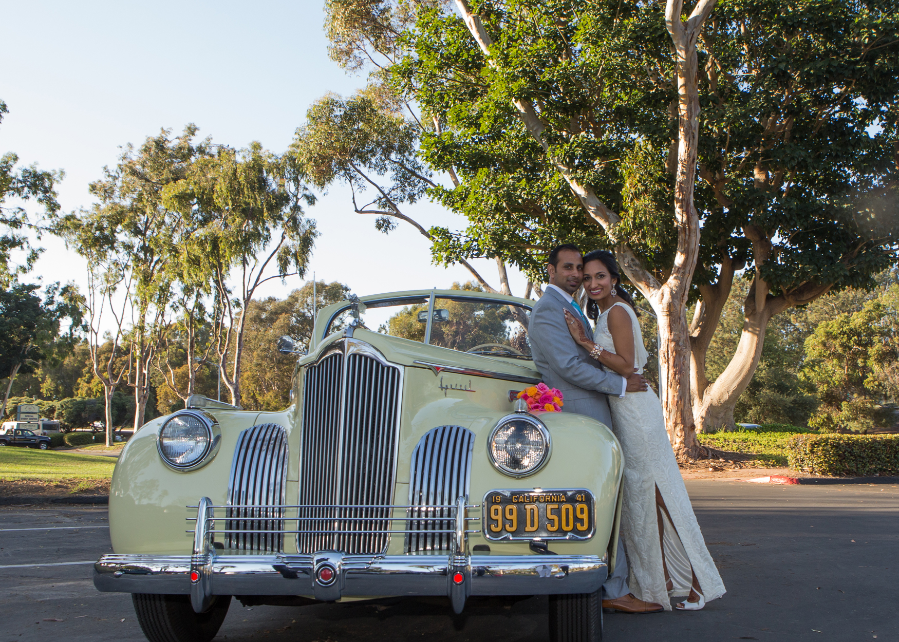 Ashmi Suraj Indian Wedding Classic Car Photoshoot Reception Bride Groom