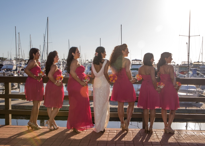 Ashmi-Suraj-Indian-wedding-venue-baraat-Hindu-Jain-San-Diego-reception-wedding-party-bridesmaids-groomsmen-white-dress