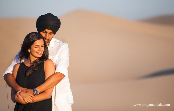 Poonam And Kiranjits Romantic Desert Engagement Session Indian Wedding Venues In Southern