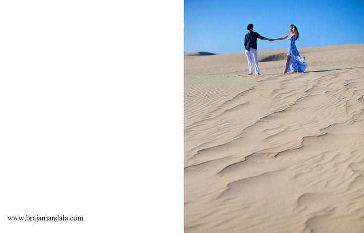 Indian bride and groom holding hands on the beach