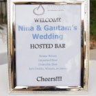 Hosted bar sign provided by the venue